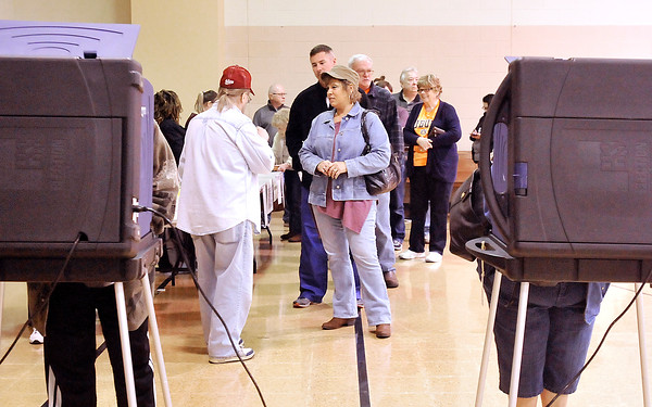 John P. Cleary    The Herald Bulletin<br /> Voters waiting to cast ballots in Union 1 at Bethany Christian Church.