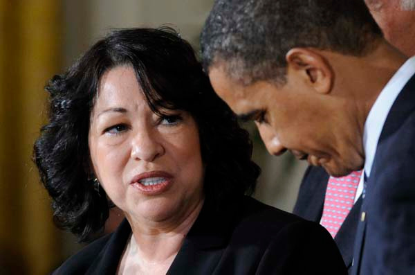 Supreme Court choice Sonia Sotomayor speaks to President Barack Obama during an announcement, Tuesday, May 26, 2009, in the East Room of the White House in Washington.