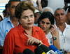 Presidential candidate Dilma Roussef of PT,  Partido dos Trabalhadores, (Workers Party) speaks with the media at Cantagalo slum, Rio de Janeiro, Brazil, September 25, 2010. Brazil will hold presidential elections on October 3. (Austral Foto/Renzo Gostoli)