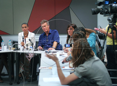 Presidential candidate Marina Silva, left, of the Green Party speaks during a press conference with foreign media correspondents, Rio de Janeiro, Brazil,  August 20, 2010. Brazil will hold presidential elections on October 3. (Austral Foto/Renzo Gostoli)