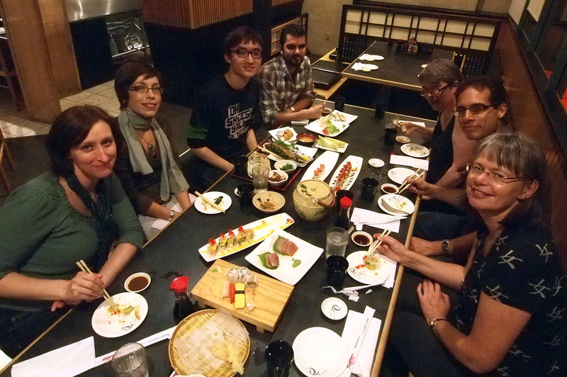 Sushi dinner with Jacquie, Vanessa, Regan, Gabe, Evelyn, Jordan, Stina.