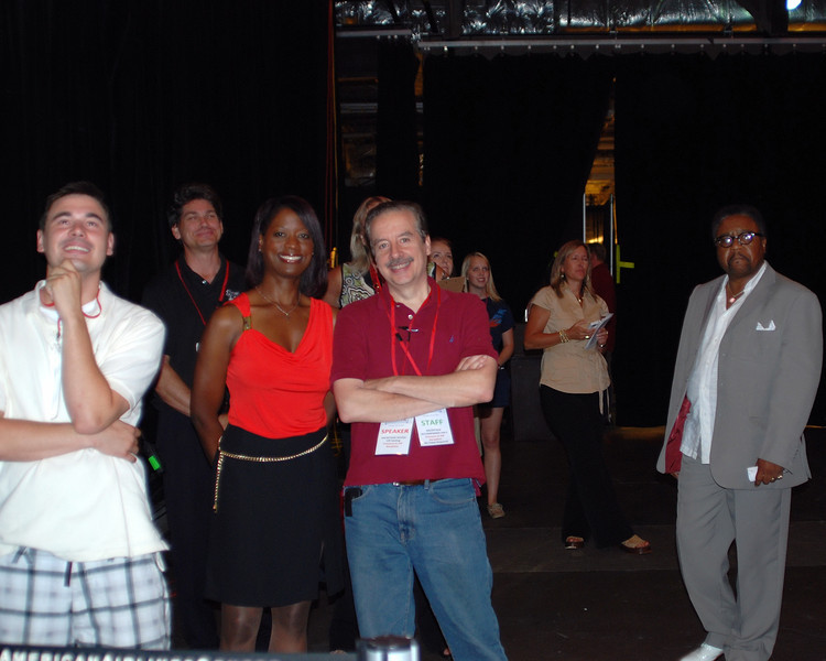 Deneen Borelli, with husband Tom, waits to be called to the stage - C.L. Bryant is to Tom`s right.