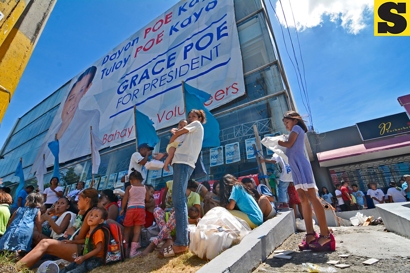 Supporters and volunteers of presidential candidate Grace Poe
