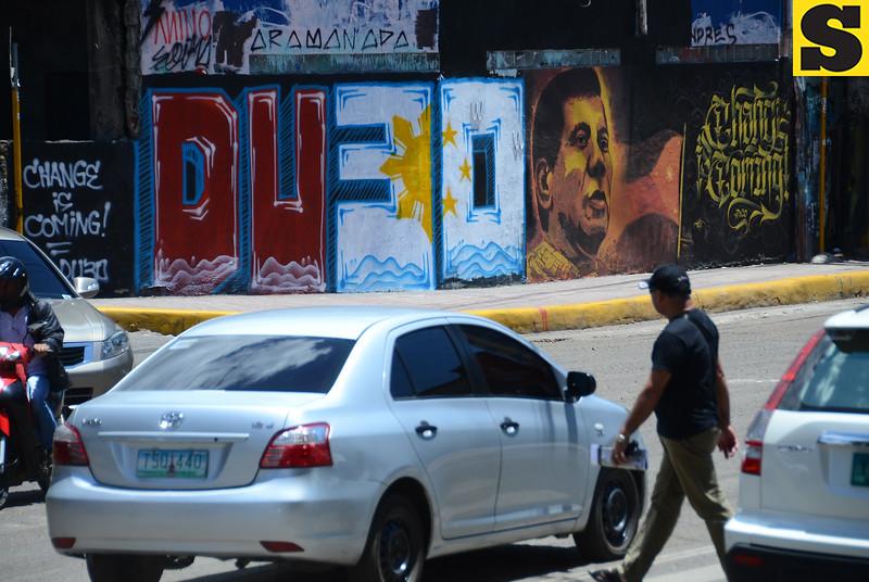 Rodrigo Duterte painting on street wall