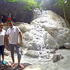 Senators Grace Poe and Francis Escudero pose during a trek to the Aguinid Falls in Samboan