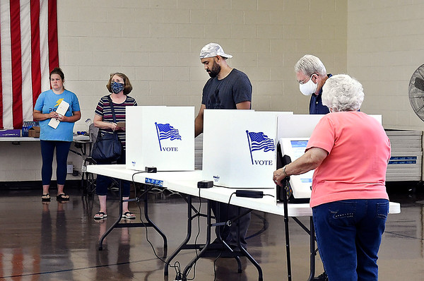 Voters were waiting for a voting machine at the  Millcreek Civic Center voting site in Chesterfield Tuesday morning. Workers there said they have been busy all morning long.