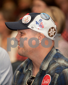 Craig Christman of Tyler wears many Ted Cruz buttons on his hat during a campaign stop by Heidi Cruz at the University of Texas at Tyler Ornelas Activity Center Saturday night Feb. 27, 2016. Heidi Cruz campaigned for her husband Republican presidential hopeful Ted Cruz.  (Sarah A. Miller/Tyler Morning Telegraph)