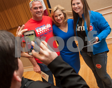 Chris Jones of Pritchett, left, and his daughter Briona Jones, right, have their photo taken with Heidi Cruz at the University of Texas at Tyler Ornelas Activity Center Saturday night Feb. 27, 2016. Heidi Cruz campaigned for her husband Republican presidential hopeful Ted Cruz.  (Sarah A. Miller/Tyler Morning Telegraph)
