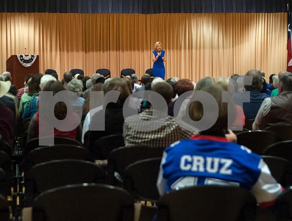 Heidi Cruz speaks at the University of Texas at Tyler Ornelas Activity Center Saturday night Feb. 27, 2016. Heidi Cruz campaigned for her husband Republican presidential hopeful Ted Cruz.  (Sarah A. Miller/Tyler Morning Telegraph)