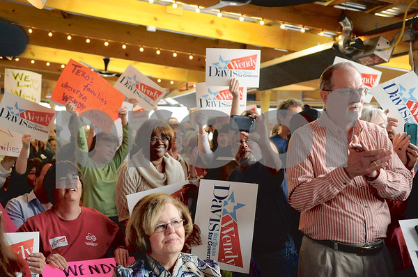 Eager Davis supporters from around East Texas filled the Tyler barbecue restaurant. (Victor Texcucano/Staff)