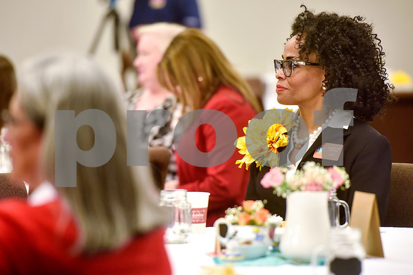 Robbie Lee Waters listens at the Women Steeping in Politics event in Tyler, Texas, on Thursday, March 15, 2018. The event provided an opportunity for guests to hear about strong women building families and careers and supporting other women. (Chelsea Purgahn/Tyler Morning Telegraph)