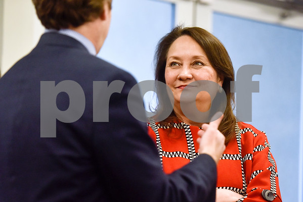 Texas First Lady Cecilia Abbott listens as a man chats with her at the Women Steeping in Politics event in Tyler, Texas, on Thursday, March 15, 2018. The event provided an opportunity for guests to hear about strong women building families and careers and supporting other women. (Chelsea Purgahn/Tyler Morning Telegraph)