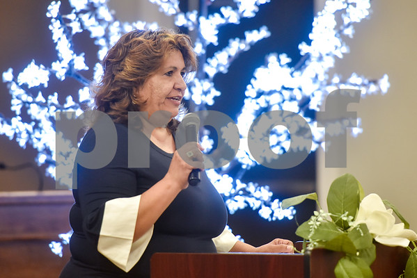 Patricia Ayub speaks at the Women Steeping in Politics event in Tyler, Texas, on Thursday, March 15, 2018. The event provided an opportunity for guests to hear about strong women building families and careers and supporting other women. (Chelsea Purgahn/Tyler Morning Telegraph)