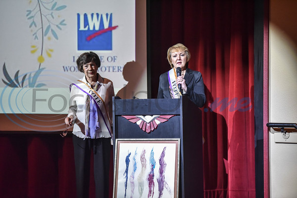 Retired Federal Judge Judith Gutherie (left) and former Tyler Mayor Barbara Bass (right) present as guest speakers at the 99 Years and Counting: Voter Equality event on Saturday, March 9. The event was held a Liberty Hall and celebrated National Women's History Month. (Jessica T. Payne/Tyler Morning Telegraph)