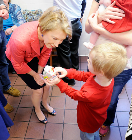 Don Knight | The Herald Bulletin<br /> Carly Fiorina and Heidi Cruz visited Good's Candy Shop in Anderson on Friday.