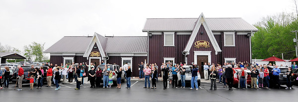 Don Knight | The Herald Bulletin<br /> A crowd estimated at close to 400 turned out for Carly Fiorina and Heidi Cruz's visit to Good's Candy Shop in Anderson on Friday.