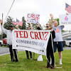 Don Knight | The Herald Bulletin<br /> Ted Cruz supporters stand on 53rd Street in front of Good's Candy Shop during a visit by Carly Fiorina and Heidi Cruz on Friday.