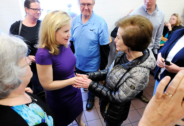 Don Knight   The Herald Bulletin<br /> Heidi Cruz greets supporters at Good's Candy Shop in Anderson on Friday. About 400 turned out and waited for a chance to meet Cruz and Carly Fiorina.