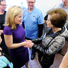 Don Knight | The Herald Bulletin<br /> Heidi Cruz greets supporters at Good's Candy Shop in Anderson on Friday. About 400 turned out and waited for a chance to meet Cruz and Carly Fiorina.