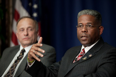 "Congressman Allen West (R-FL) speaks to conservative activists in what organizers called the ""first Tea Party town hall"" on Tuesday, February 8, 2011 at the National Press Club in Washington DC. The event was sponsored by Tea Party Express and Tea Party HD. Rep. Steve King (R-IA) in background. (Photo by Jeff Malet)"
