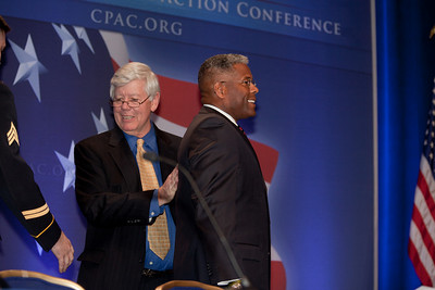 David Keene introduces Rep. Allen West (R-FL) as keynote speaker at the annual Conservative Political Action Conference (CPAC) at the Marriott Wardman Park Hotel in Washington DC on Feb.12, 2011. Keene is the outgoing chairman of the American Conservative Union, a position he has held since 1984. He is expected to be elected president of the National Rifle Association (NRA) in April, 2011. (Photo by Jeff Malet)