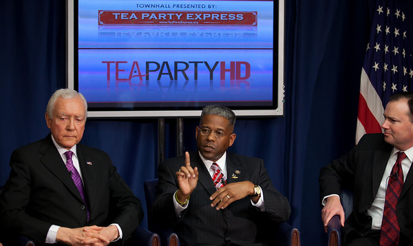 "Senator Orrin Hatch (R-UT), Rep. Allen West (R-FL) and Senator Mike Lee (R-UT) speak to conservative activists in what organizers called the ""first Tea Party town hall"" on Tuesday, February 8, 2011 at the National Press Club in Washington DC. The event was sponsored by Tea Party Express and Tea Party HD. (Photo by Jeff Malet)"