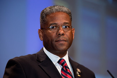 Rep. Allen West (R-FL) delivers the keynote address at the annual Conservative Political Action Conference (CPAC) at the Marriott Wardman Park Hotel in Washington DC on Feb.12, 2011. (Photo by Jeff Malet)