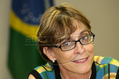 Dr. Marina Angelica, Brazil's National STD/AIDS coordindor at a press conference in Rio de Janeiro. (Australfoto/Douglas Engle)