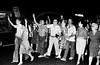 Presos politicos de la dictadura militar argentina (1976-1983)  liberados de la carcel de Rawson y familiares hacen manifestacion en la avenida Corrientes, Buenos Aires, Argentina, diciembre 4, 1983. (Austral Foto/Renzo Gostoli)