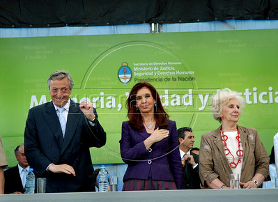 "Ex-president Nestor Kirchner, left, Argentina's president Cristina Kirchner, center, and Estela B. de Carlotto, president of Abuelas (Grandmothers) de Plaza de Mayo, during the human rights ""Azucena Villaflor"" ceremony award in the ESMA, Escuela de Mecanica de la Armada, a argentinian navy military center where more 5000 disappear, Buenos Aires, Argentina, December 18, 2008. (Austral Foto/Renzo Gostoli)"
