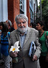 "Argentinian historian and writer Osvaldo Bayer, author of ""The Rebellious Patagonia"" (""La Patagonia rebelde""), (the avengers of the tragic Patagonia), poses in the ESMA, Escuela de Mecanica de la Armada, a argentinian navy military center where more 5000 disappear, after receives from Argentina's president Cristina Kirchner, the award ""Azucena Villaflor"" for his actuation defending human rights and the ""desaparecidos"" citizens missing during the dirty war of 1970s, Buenos Aires, Argentina, December 18, 2008. (Austral Foto/Renzo Gostoli)"