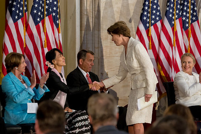 Former First Lady Laura Bush congratulates Aung San Suu Kyi