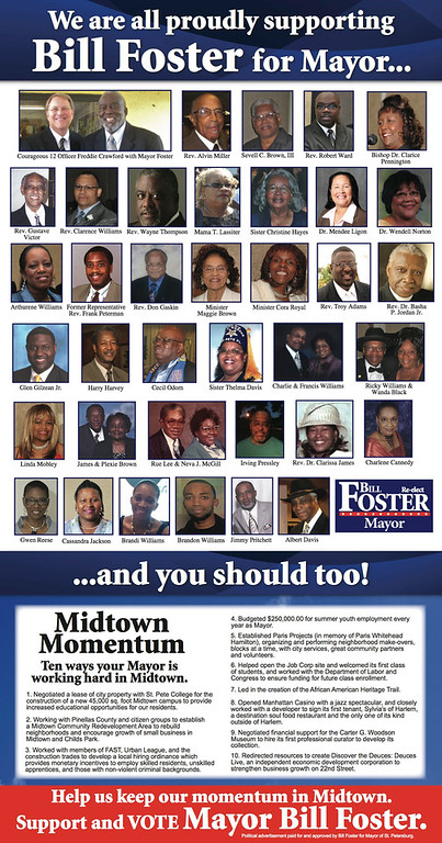 ST. PETE BLACK COMMUNITY LEADERS SUPPORTING RE-ELECTION OF MAYOR BILL FOSTER 10-17-13