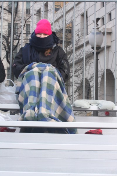 Shoshanna bundled up when we first arrived. Note the neck wrest next to her - that's what we sat on!