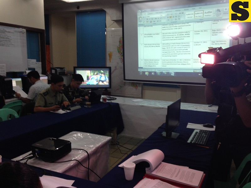 Comelec chairman Sixto Brillantes at Command Center this morning