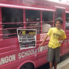 CEBU. This man distributes leaflets to people passing by and encourages them to vote no to splitting Barangay Guadalupe. Onboard the vehicles are residents who voted no to Republic Act 9905, authored by former Cebu congressman Antonio Cuenco. (Laureen Mondonedo/Sunnex)