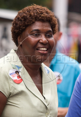 Federal Deputy candidate Benedita da Silva on campaign in Nova Iguaçu, Brazil part of Rio de Janeiro's metropolitan area Sept. 30, 2010. Benedita, as she is known, was the first female and black governor of the state of Rio de Janeiro and later Social Action Secretary in President Lula's government, where she was accused of using public resources to finance a personal trip. She resigned the post in 2004.(Australfoto/Douglas Engle)