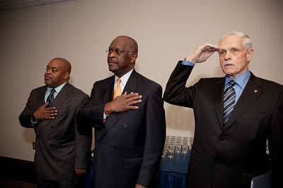 Niger Innis and Herman Cain were two of more than a dozen African American conservatives gathered in Washington DC on August 4, 2010 to help the Tea Party Express fight back against accusations of racism. Niger Innis is the National Spokesman Congress of Racial Equality and Co-Chairman Affordable Power Alliance. Niger's father Roy Innis has been National Director of CORE since 1968. Herman Cain, is a national radio talk show host. Jim Martin ( on the right) represents the group 60 Plus, the conservative alternative to AARP. (Photo by Jeff Malet)