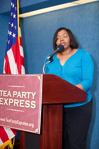 Mary Baker, Conservative Moms for America, was one of more than a dozen African American conservatives gathered in Washington DC on August 4, 2010 to help the Tea Party Express fight back against accusations of racism.  (Photo by Jeff Malet)