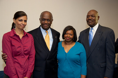 More than a dozen African American conservatives gathered in Washington DC on August 4, 2010 to help the Tea Party Express fight back against accusations of racism. (L) Selena Owens-Higher Standard Publishers. Selena is married to author and speaker, William Owens who was also at the event. (CL) Herman Cain, National Radio Talk Show Host (CR) Mary Baker, Conservative Moms for America (R) Mychal S. Massie Chairman Project 21-The Nation Leadership Network of Black Conservatives  (Photo by Jeff Malet)