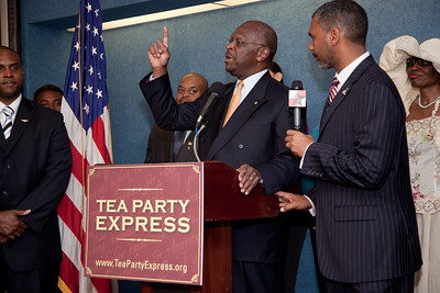 Talk radio host Herman Cain was one of more than a dozen African American conservatives gathered in Washington DC on August 4, 2010 to help the Tea Party Express fight back against accusations of racism. (Photo by Jeff Malet)