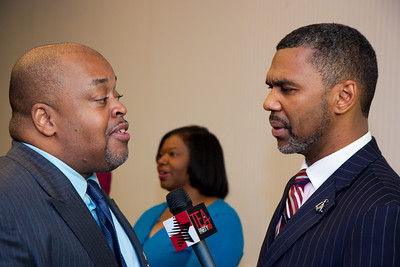 William Owens and Niger Innis joined more than a dozen African American conservatives gathered in Washington DC on August 4, 2010 to help the Tea Party Express fight back against accusations of racism. William Owens and his wife Selena are Christian political activists, authors and speakers. The Owens' joined the Tea Party Express from the first tour from Sacramento to Washington, DC, ending on the 9/12 March on DC, touring with the Express by car. They have since joined the Tea Party Express family by bus for each tour thereafter. and are committed to the Tea Party movement because of its stance regarding the citizen's concerns of limited government, fiscal responsibility, and transparency in government, and free markets. Innis is National Spokesman Congress of Racial Equality. Co-Chairman Affordable Power Alliance (Photo by Jeff Malet)