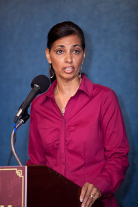 Selena Owens joined more than a dozen African American conservatives gathered in Washington DC on August 4, 2010 to help the Tea Party Express fight back against accusations of racism. Selena and husband William Owens are Christian political activists, authors and speakers. The Owens' joined the Tea Party Express from the first tour from Sacramento to Washington, DC, ending on the 9/12 March on DC, touring with the Express by car. They have since joined the Tea Party Express family by bus for each tour thereafter. and are committed to the Tea Party movement because of its stance regarding the citizen's concerns of limited government, fiscal responsibility, and transparency in government, and free markets.  (Photo by Jeff Malet)