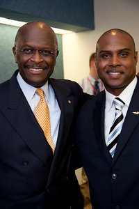 Talk radio host Herman Cain (left) and Frantz Kebreau-National Director, NAACPC (National Asso. For the Advancement of Conservative People of ALL Colors) joined more than a dozen African American conservatives gathered in Washington DC on August 4, 2010 to help the Tea Party Express fight back against accusations of racism. (Photo by Jeff Malet)