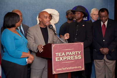 More than a dozen African American conservatives gathered in Washington DC on August 4, 2010 to help the Tea Party Express fight back against accusations of racism. Kevin Jackson, author of Amazon best-selling book, The BIG Black Lie, President of the Black Conservative Coalition and The Black Sphere, answers reporters questions. (Photo by Jeff Malet)