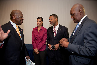 More than a dozen African American conservatives gathered in Washington DC on August 4, 2010 to help the Tea Party Express fight back against accusations of racism.  Herman Cain, National Radio Talk Show Host Selena and William Owens-Higher Standard Publishers Mychal S. Massie Chairman Project 21-The Nation Leadership Network of Black Conservatives (Photo by Jeff Malet)