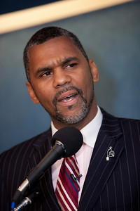 William Owens joined more than a dozen African American conservatives gathered in Washington DC on August 4, 2010 to help the Tea Party Express fight back against accusations of racism. William Owens and his wife Selena are Christian political activists, authors and speakers. The Owens' joined the Tea Party Express from the first tour from Sacramento to Washington, DC, ending on the 9/12 March on DC, touring with the Express by car. They have since joined the Tea Party Express family by bus for each tour thereafter. and are committed to the Tea Party movement because of its stance regarding the citizen's concerns of limited government, fiscal responsibility, and transparency in government, and free markets.  (Photo by Jeff Malet)