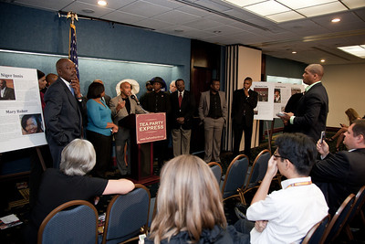 More than a dozen African American conservatives gathered in Washington DC on August 4, 2010 to help the Tea Party Express fight back against accusations of racism. (Photo by Jeff Malet)