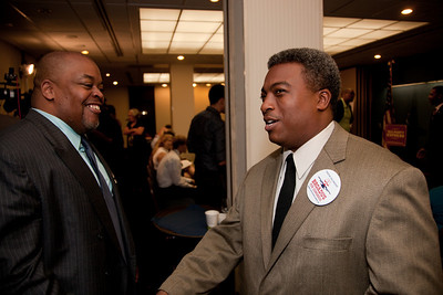 Niger Innis and Robert Broadus were two of more than a dozen African American conservatives gathered in Washington DC on August 4, 2010 to help the Tea Party Express fight back against accusations of racism. Niger Innis is the National Spokesman Congress of Racial Equality and Co-Chairman Affordable Power Alliance. Niger's father Roy Innis has been National Director of CORE since 1968. Robert Broadus is the expected Republican nominee for Maryland's 4th Congressional District. (Photo by Jeff Malet)