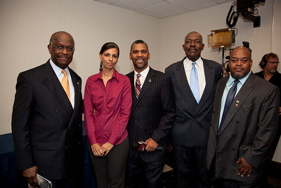 More than a dozen African American conservatives gathered in Washington DC on August 4, 2010 to help the Tea Party Express fight back against accusations of racism.  Herman Cain, National Radio Talk Show Host Selena and William Owens-Higher Standard Publishers Mychal S. Massie Chairman Project 21-The Nation Leadership Network of Black Conservatives Niger Innis, National Spokesman Congress of Racial Equality. Co-Chairman Affordable Power Alliance (Photo by Jeff Malet)